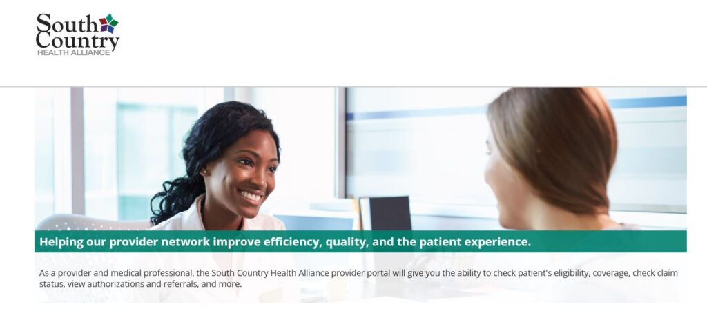 South Country Provider Portal Home Page graphic